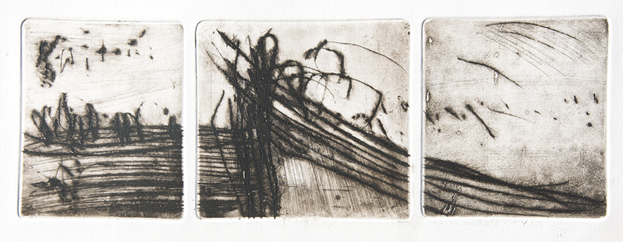 Emanuele Convento - Ponte paesaggio 2, 2016 puntasecca, mm 150 x 430 (assieme)