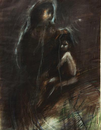 Madonna con bambino, 2013 tempera e pastelli su carta, cm 51 x 30