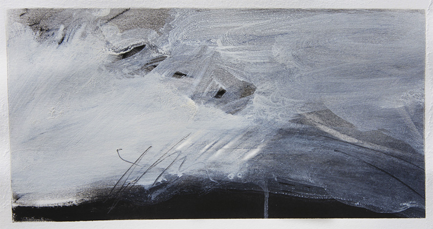 Mostro marino+paesaggio+corvi, 2017 china e tempera su carta, cm 15 x 29