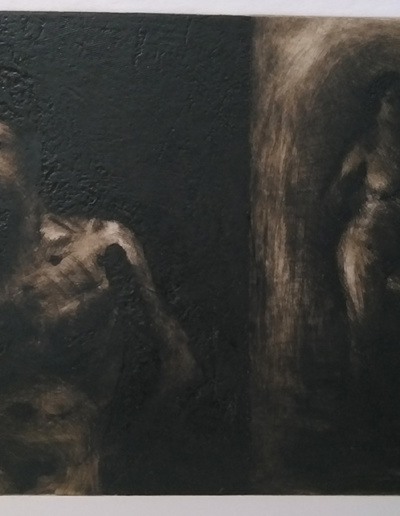 Emanuele Convento - Il Vecchio e la Ragazza Divergenze di sguardi, 2020, puntasecca e carborundum su plexiglass, mm 490 x 690