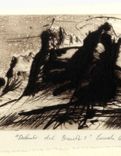 Emanuele Convento - Dolomiti del Brenta (dalla cartellina Omaggio a Rembrandt), 2019, puntasecca, carborundum, maniera a bollicine su rame, mm 120 x 180.