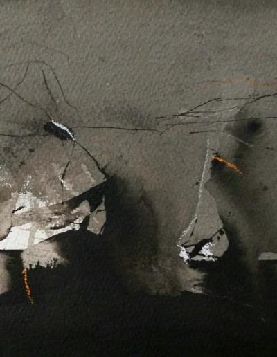 Emanuele Convento - Ombre di paesaggio, inchiostro e tempera, 2020, cm 28 x 21