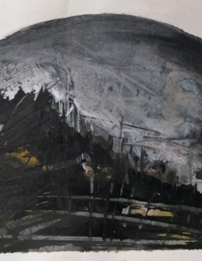 Emanuele Convento - Paesaggio neogotico 1, 2018, china e tempera su carta, cm 30 x 40