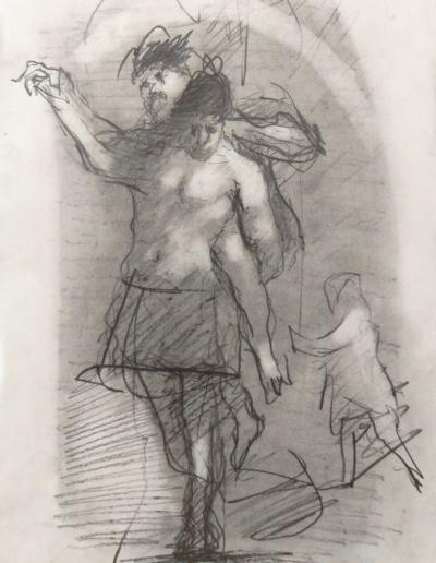 Emanuele Convento - Studi per monotipi 3, grafite su carta, 2019, cm 30 x 20
