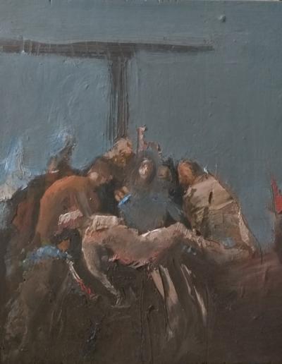 Emanuele Convento - Deposizione 2, 2014-2019, olio su tavola, cm 32 x 29