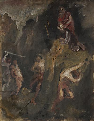 Emanuele Convento - Gli Scismatici, 2011, olio su cartoncino, cm 37 x 30