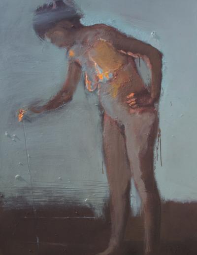 Emanuele Convento - Lasciando una traccia-Sara, 2020, olio su tela, cm 150 x 120