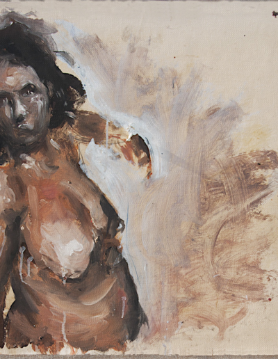 Emanuele Convento - Sam, 2010, tempera magra su carta da scena intelaiata, cm 67 x 65